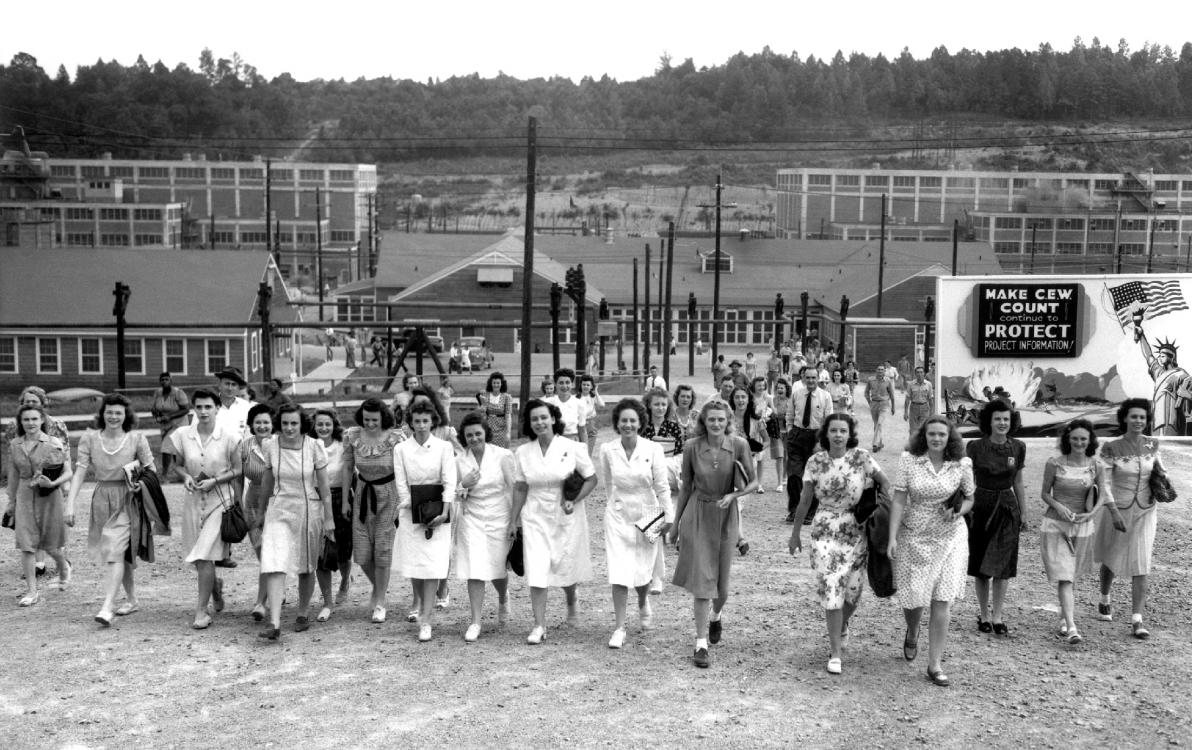 Women of Manhattan Project leaving work