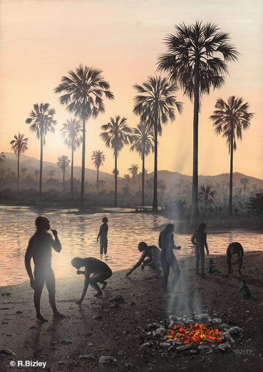 Early humans welcoming the dawn