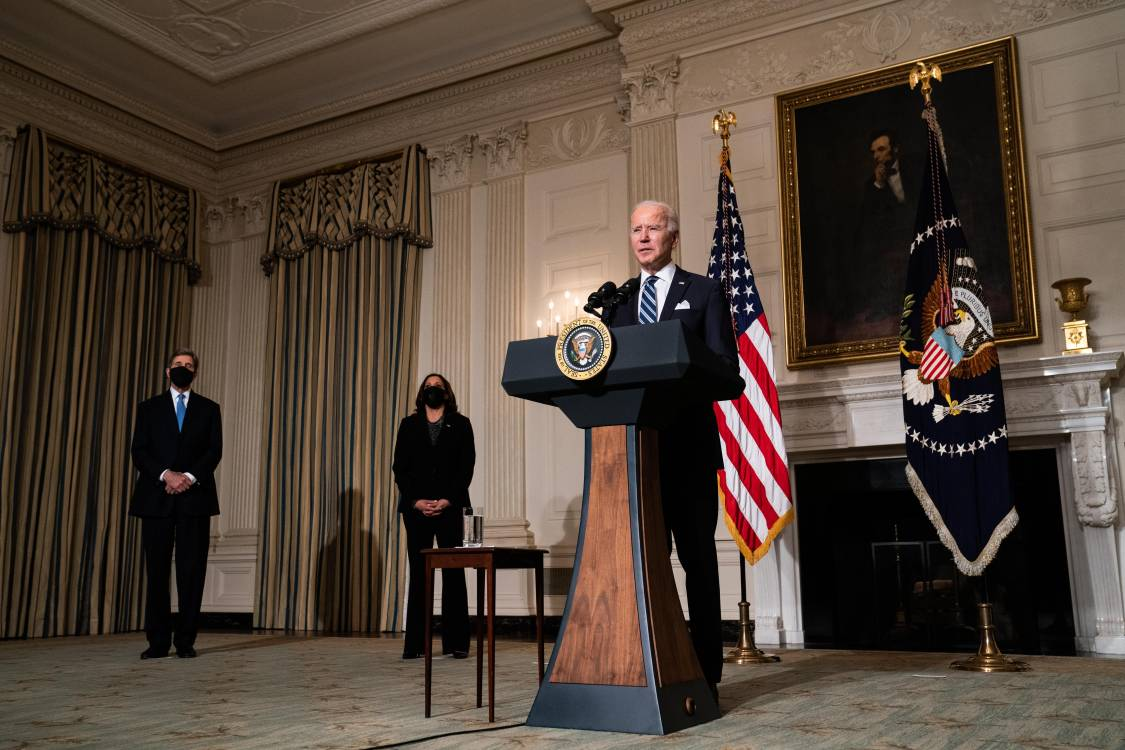 U.S. President Joe Biden speaks about climate change issues in the State Dining Room of the White House on January 27, 2021 in Washington, DC. President Biden signed several executive orders related to the climate change crisis on Wednesday, including one directing a pause on new oil and natural gas leases on public lands.; Getty