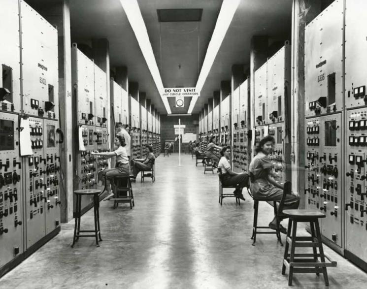 Calutron operators at work at the Y-12 plant at Oak Ridge, Tennessee.