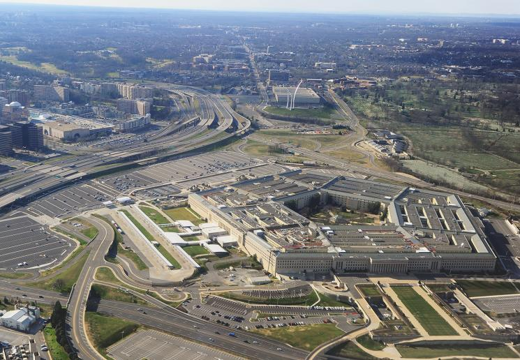 An aerial view of the Pentagon.