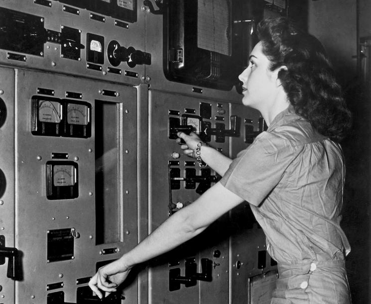 A control panel operator at the Y-12 Plant, Oak Ridge Tennessee.