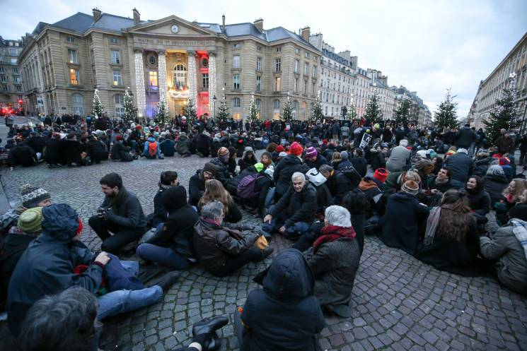 demonstrators gather in Paris