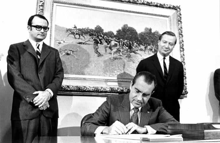 President Nixon signs the act establishing the EPA