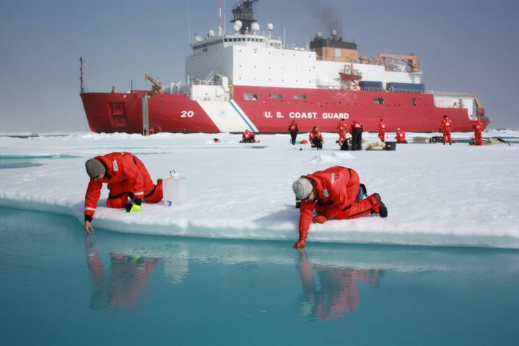 Jens Ehn of Scripps Institution of Oceanography (left), and Christie Wood of Clark University (right), sampling melt ponds tostudy how changing conditions in the Arctic affect the ocean's chemistry and ecosystems;Kathryn Hansen, NASA Goddard Space Flight. Flickr
