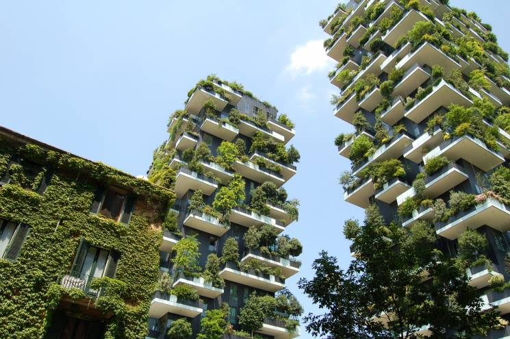 The 'Bosco Verticale' (vertical forest) by the Milanese architect Stefano Boeri. Plants provide shade and synthesize oxygen.