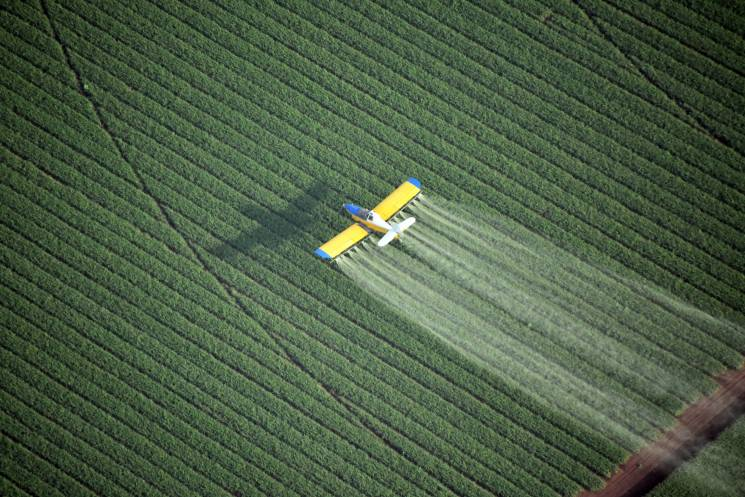 Crop dusting a cornfield;Getty Images