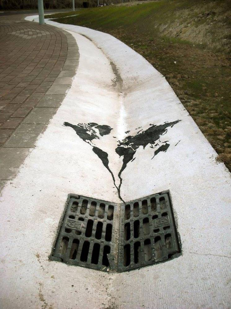 Our planet going doing the drain; Street Art Utopia, Pejac