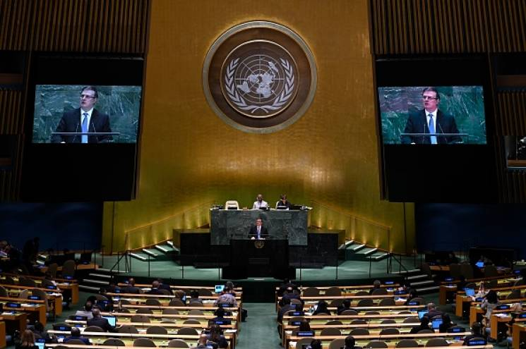 Mexican Foreign Minister Marcelo Ebrard Casaubon speaks during the 74th Session of the General Assembly at UN Headquarters in New York on September 28, 2019; Getty Images