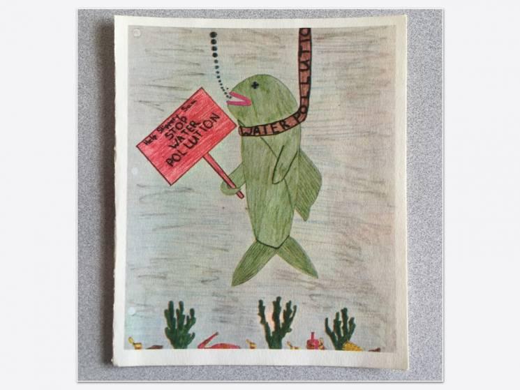 Un niño nos muestra su perspectiva artística de la contaminación del agua en 1970, pero aún 50 años después, la contaminación del agua continúa siendo un problema para nuestro ambiente y nuestra salud; Penguin Random House Books