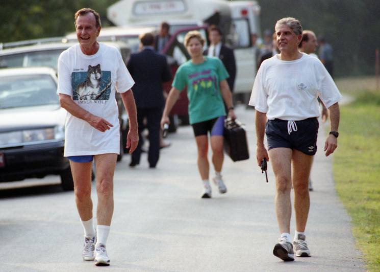 George H W Bush out for a walk