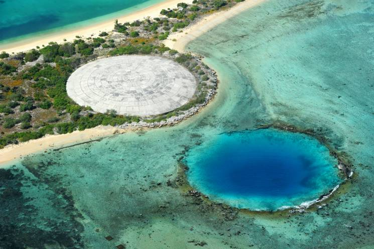 aerial view of the Marshall Islands and Runit dome.