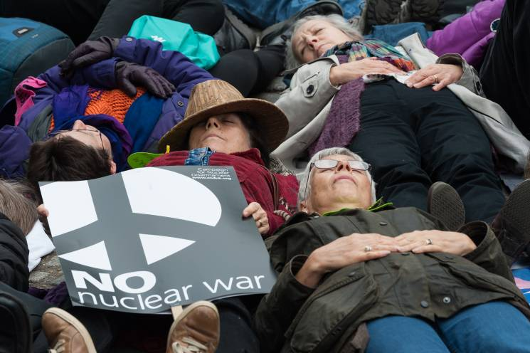 protestors lay on the ground