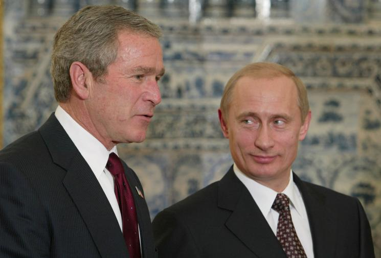 An image of George W. Bush and Vladimir Putin.