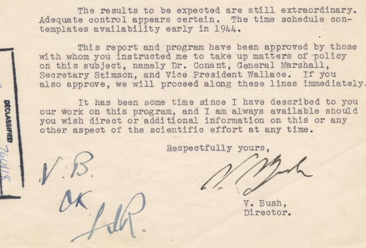 Typed letter with V.B. OK FDR. scrawled below the body of the letter.