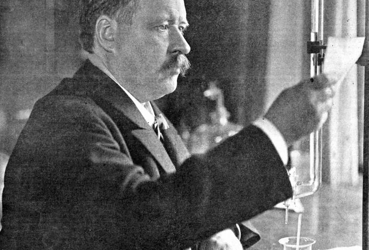 Svante August Arrhenius in his lab