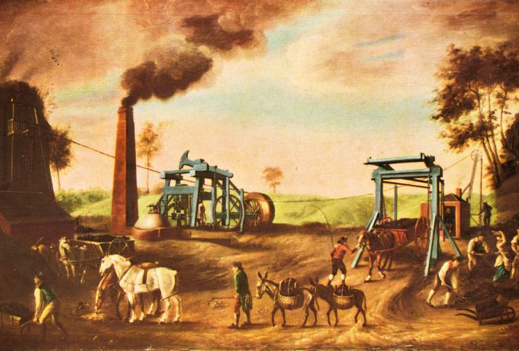 Landscape painting with early steam engine