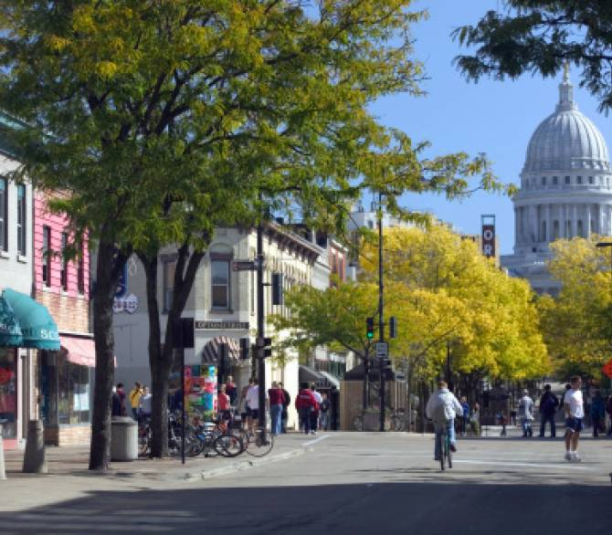 A pedestrian street in Madison, WI;Getty Images