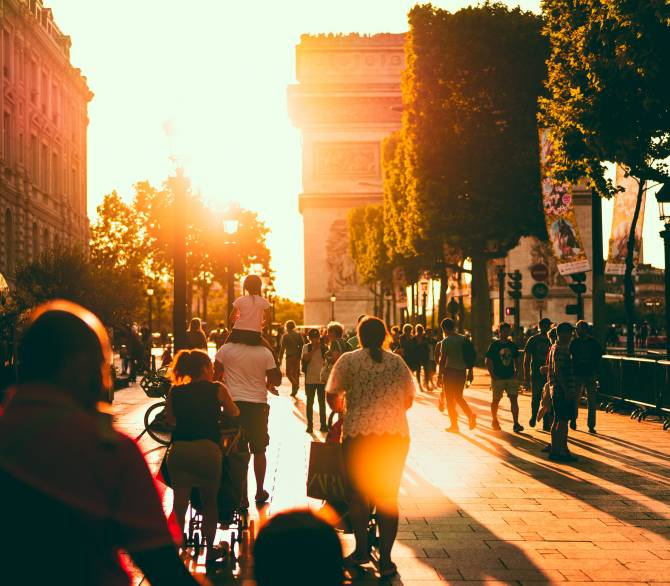 A pedestrian street in Paris, France;  Unsplash