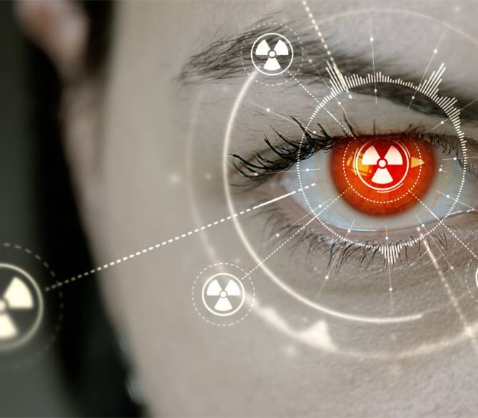 woman's eye with heads-up display