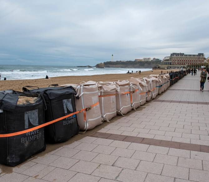 Wave Bumper modules placed along the Grande Plage promenade in front of the casino on December 03, 2020 in Biarritz, France.; Getty