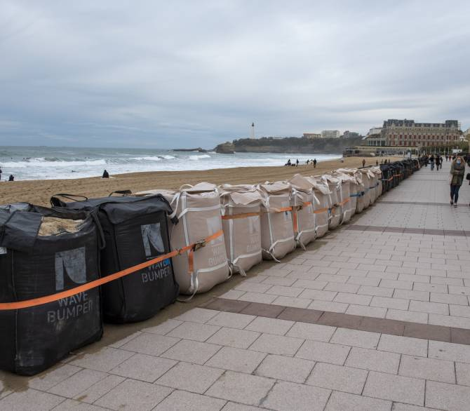 : Wave Bumper modules placed along the Grande Plage promenade in front of the casino on December 03, 2020 in Biarritz, France. Wave Bumper seawall is made up of removable curve modules which reduce the energy of the waves by generating a return movement towards the sea.; Getty