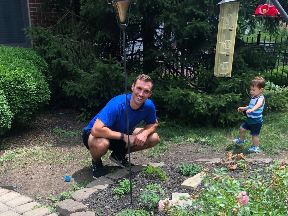 Brent Suter in his family garden; Brent Suter
