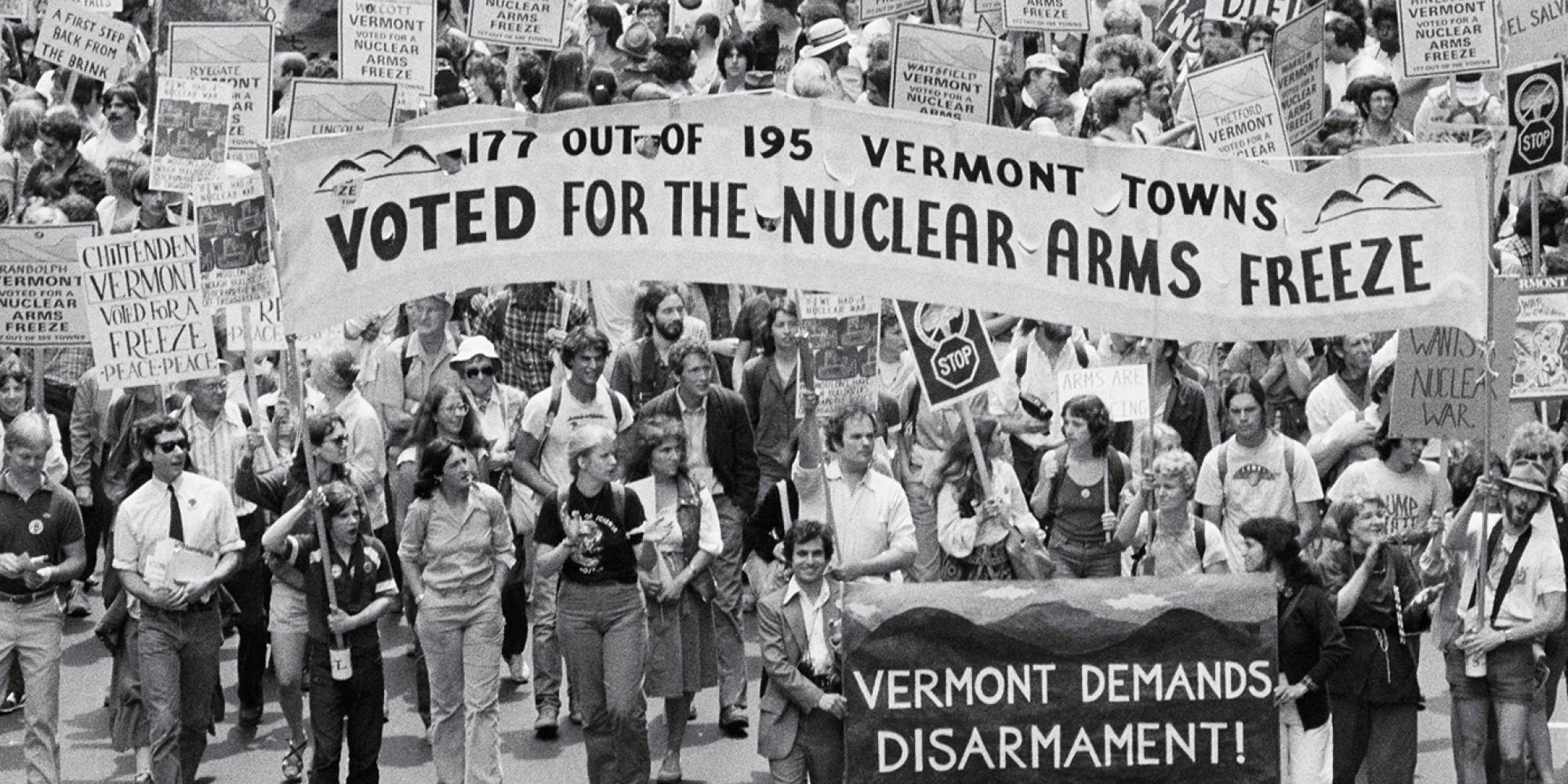 Demonstrators from Vermont rally to demand disarmament.