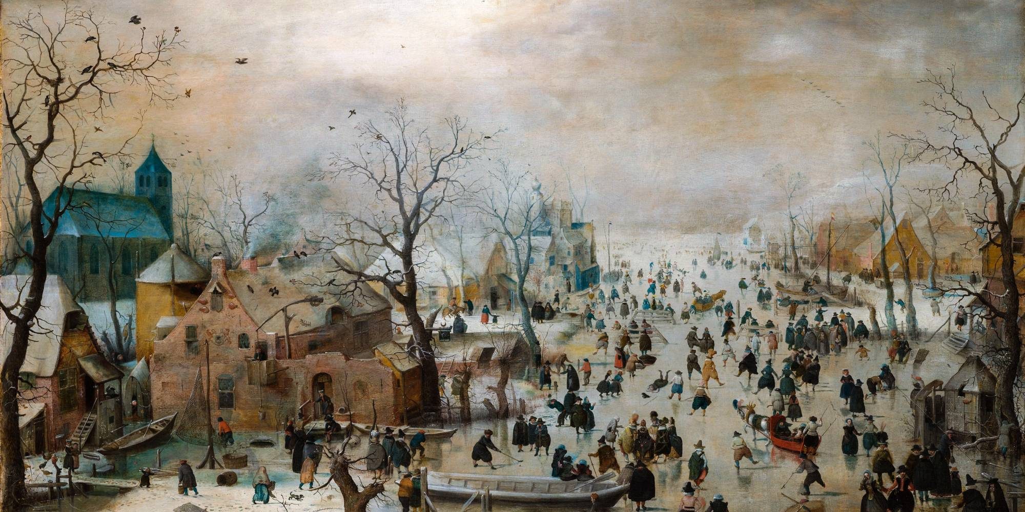 Villagers skating, painting by Hendrick Avercamp