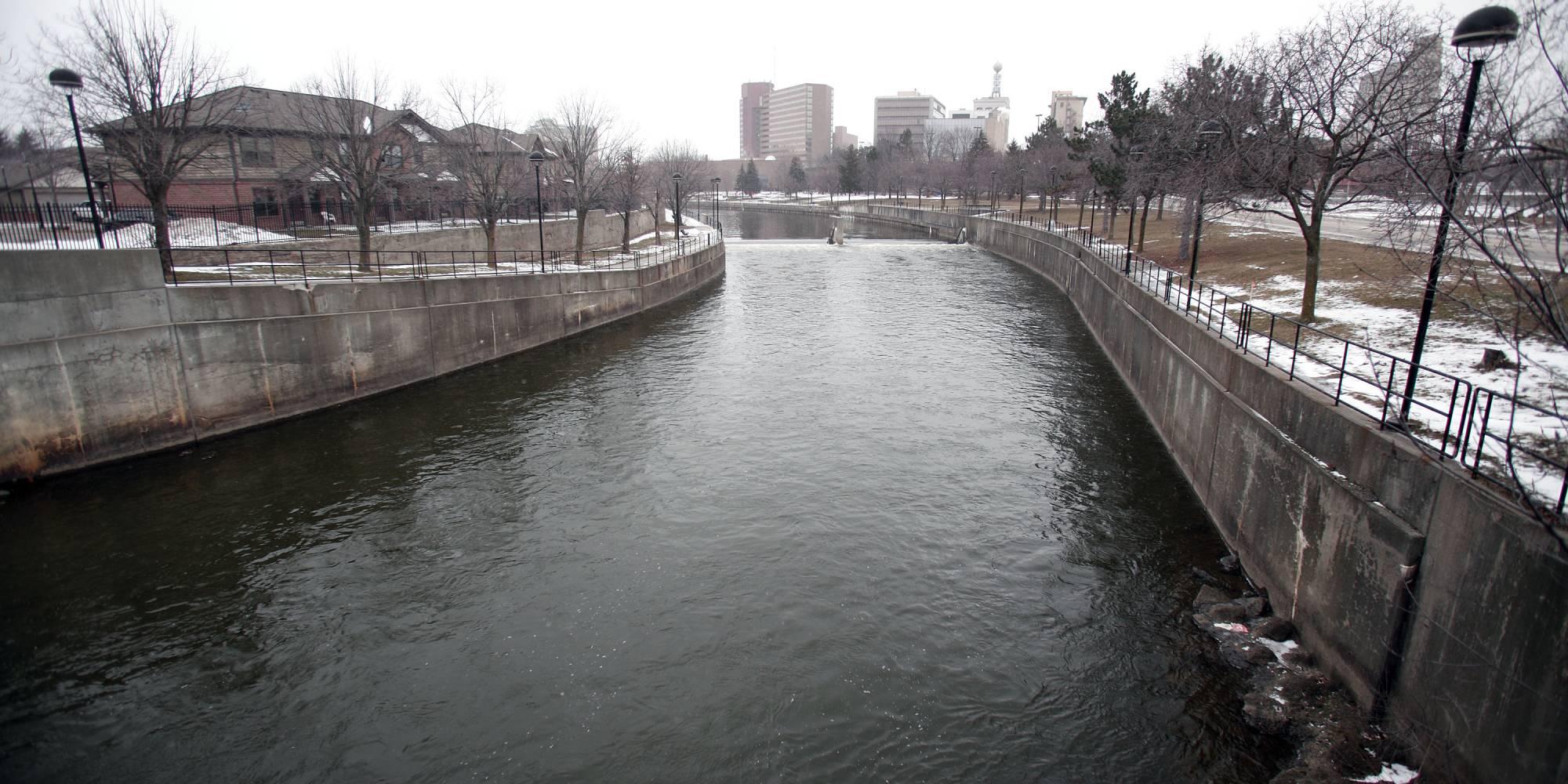 The Flint River flows through downtown Flint;Getty Images