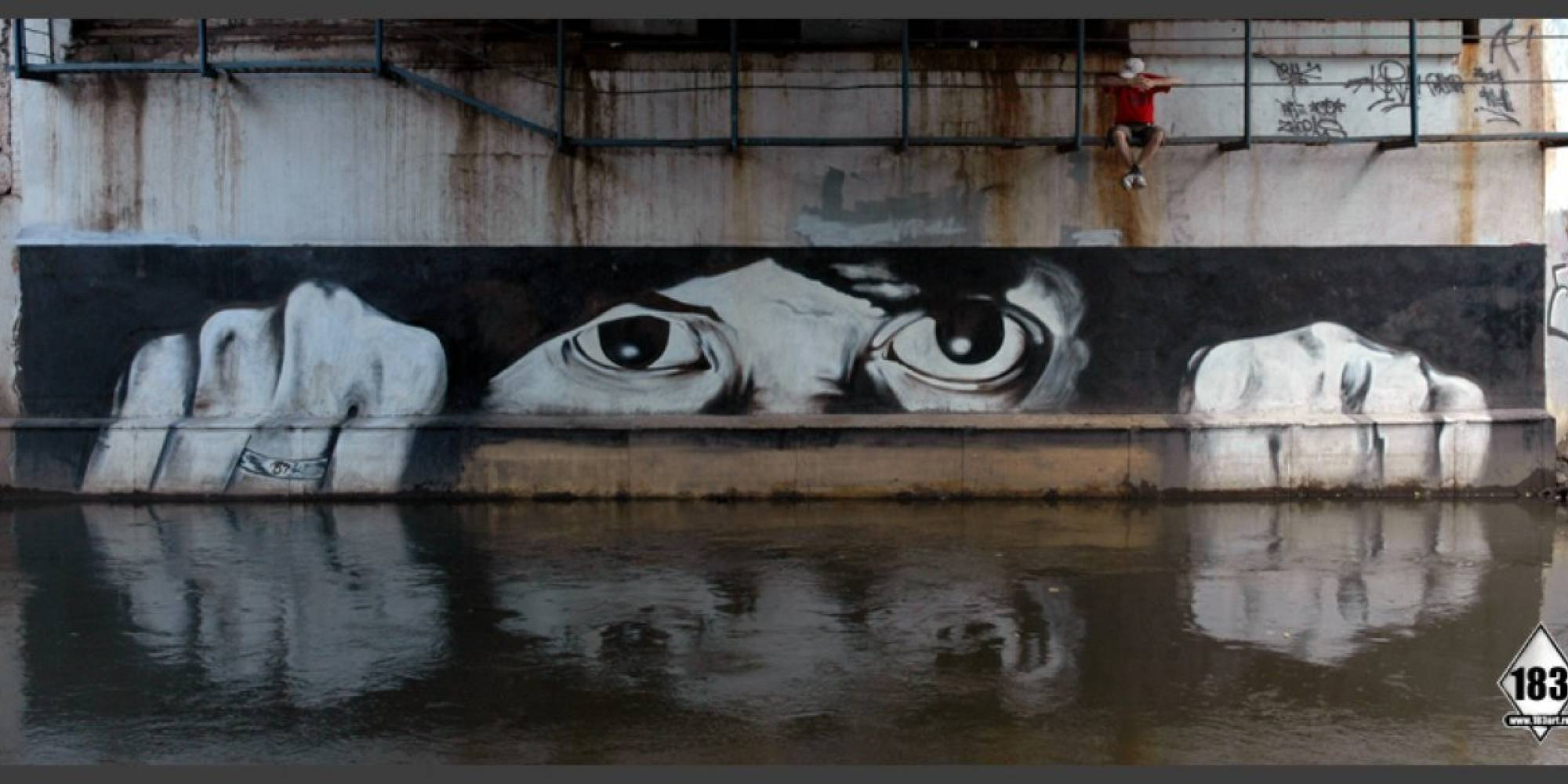 Street art showing water levels; P183. 183art.ru